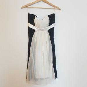 B&W strapless mini dress